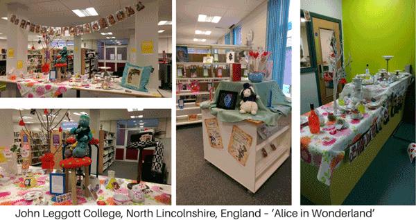 Alice in wonderland library display