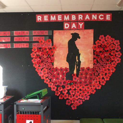 Remembrance Day library display with hand-made poppies, by Linden Park Primary School, South Australia.