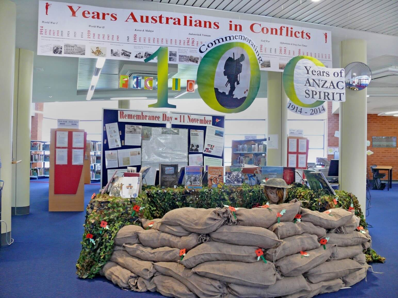 100 years of ANZAC spirit. Library display by Peter Moyes Anglican Community School, Western Australia.