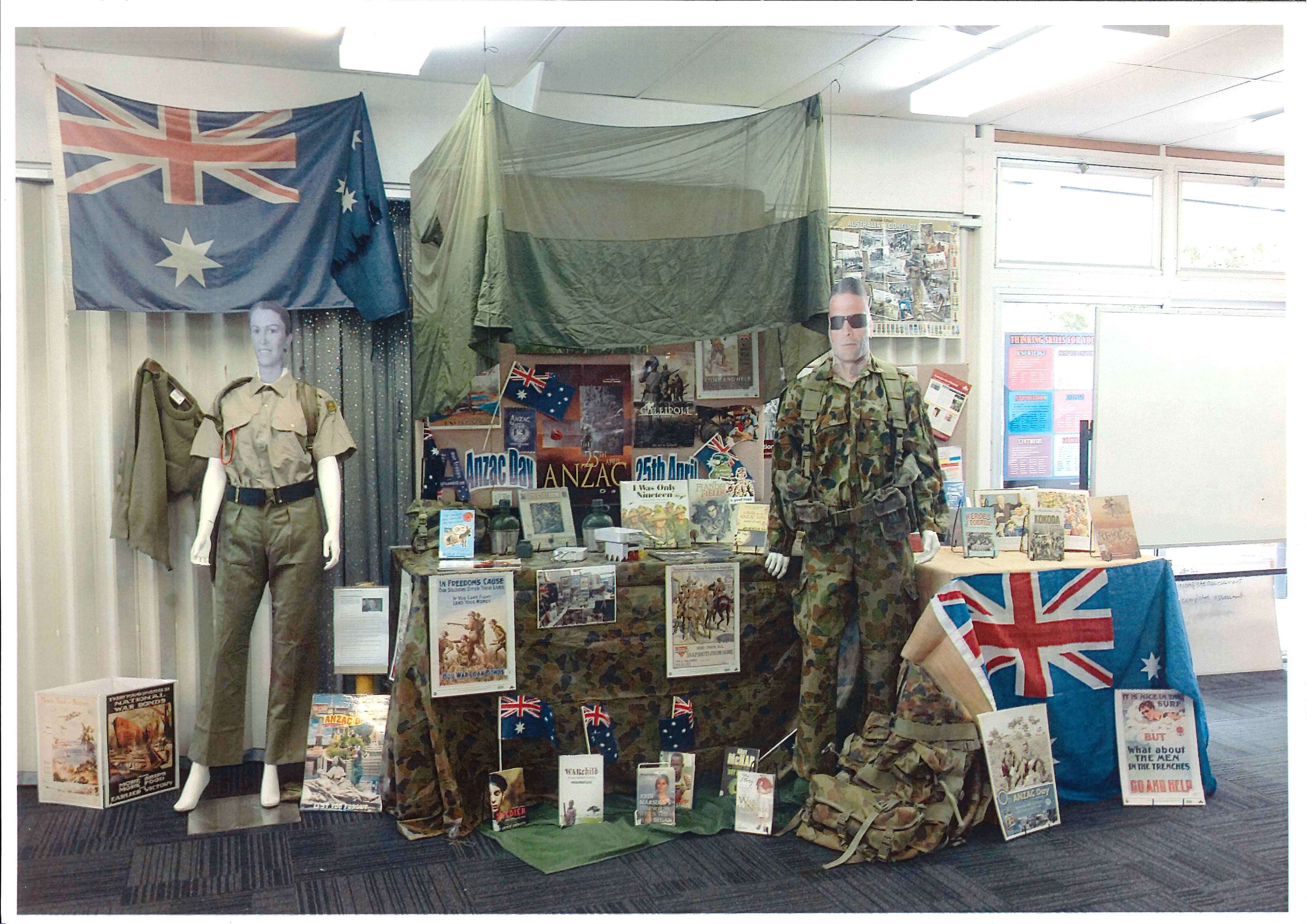 ANZAC-themed library display by Redbank Plains State High School, Queensland, Australia.