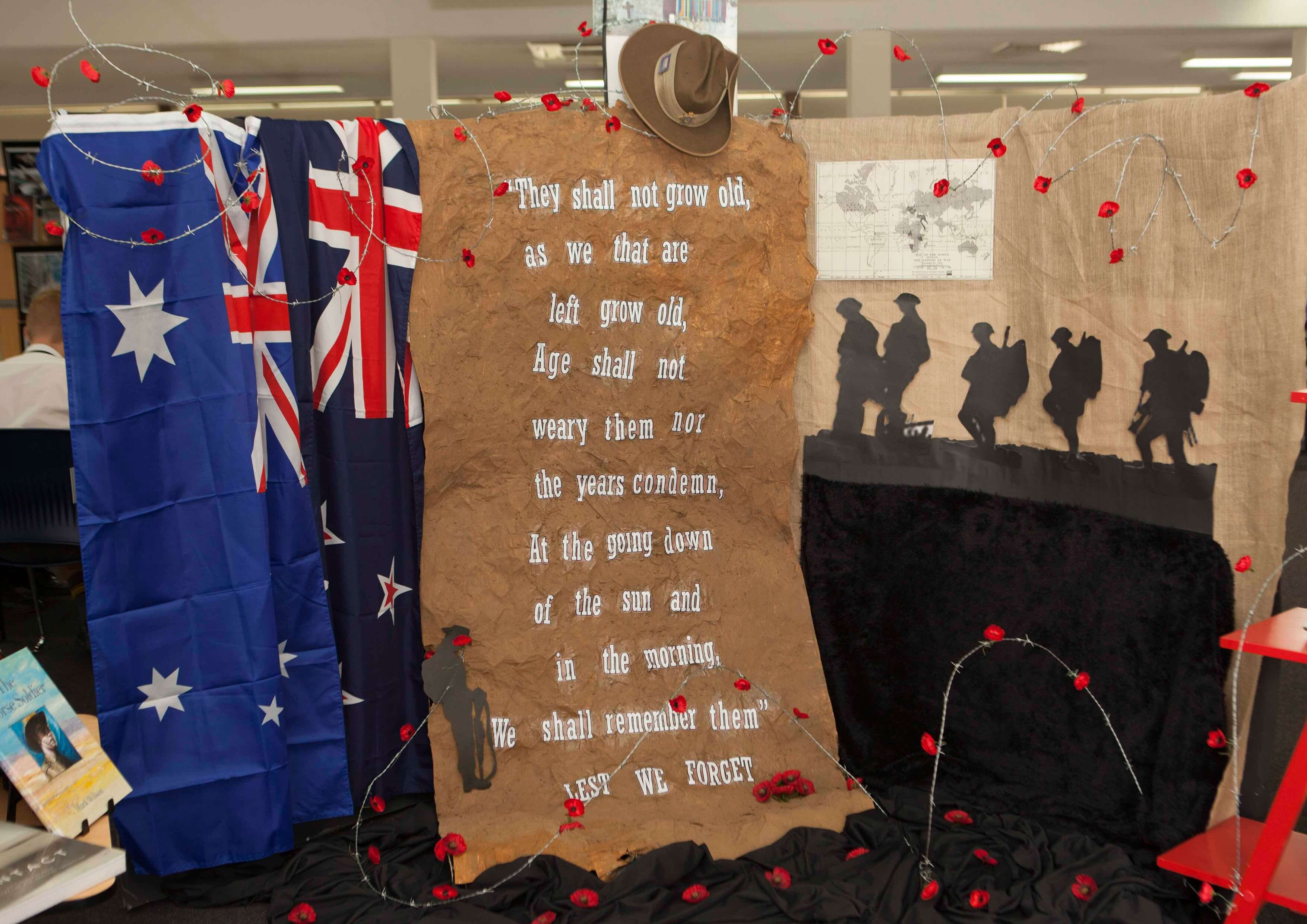 ANZAC-themed library display by St Laurence's College, Queensland, Australia.