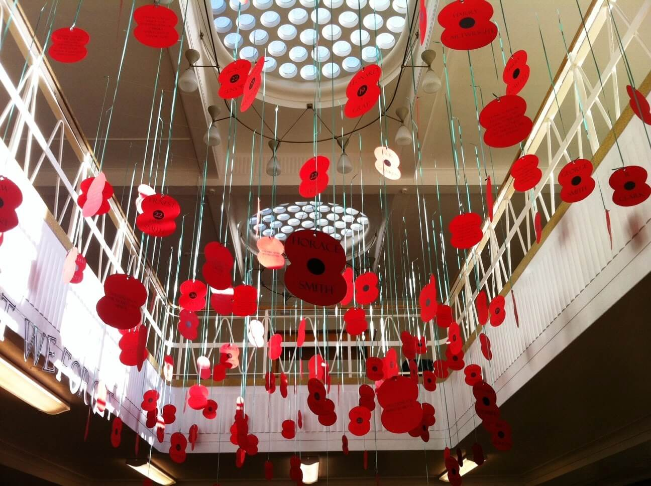 World War One, 100 years. Hanging poppies on display at Stratton Upper School library, Bedfordshire, England.